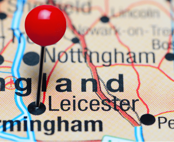 Map of England - pin in Leicester