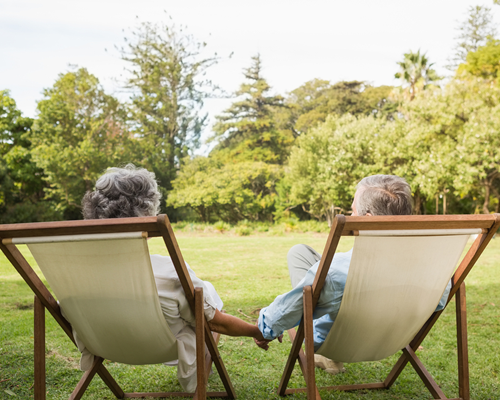 Senior couple sitting in garden while holding hands