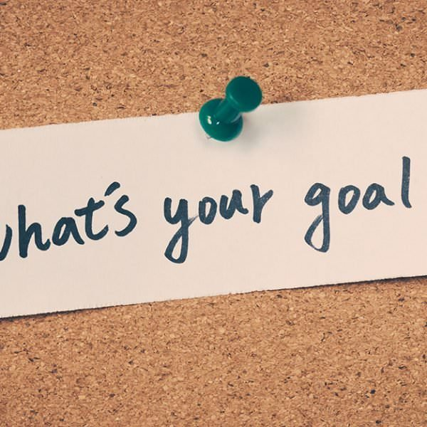 What's your goal? - reminder pinned to cork board