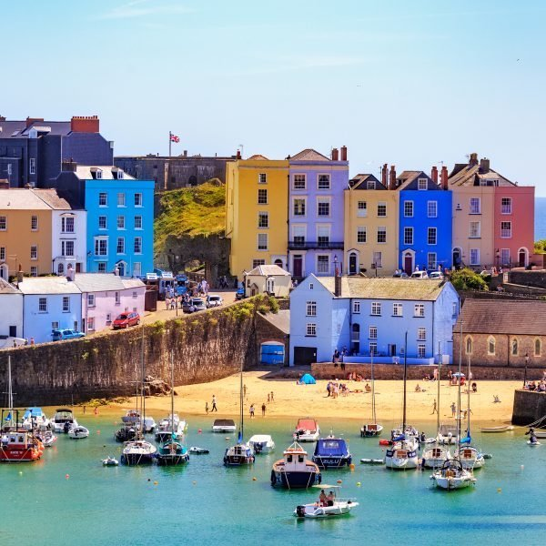 The harbour in Tenby with sunshine, where Penguin Wealth office is based..